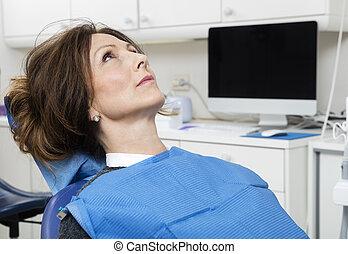 kliniek, patiënt, tandarts, zittende
