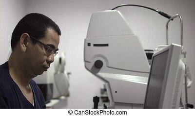 kliniek, zicht, examen, arts