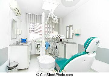 klinik, arbete, tand verktyg, design, inre