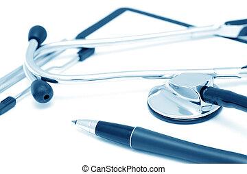 klinik, diagnostiskt, stilleben, (blue, toned)