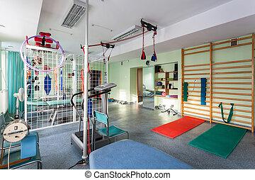 Klinik, fysioterapi, tom, rum