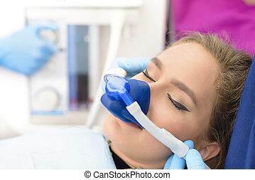 klinik, inandning, behandling med lugnande medel