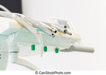 klinik, medicinsk, tandläkare, instrument, specificera