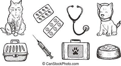 klinik, sätta, veterinär, läkar ikon