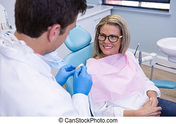 klinik, tandläkare, talande, tålmodig, medicinsk