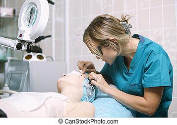klinik, visagistin, patient, haut