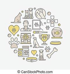 klinika, állatorvos, ábra, kör alakú