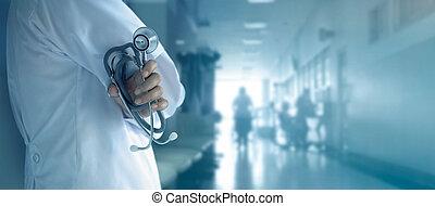 klinikum, hand, stethoskop, hintergrund, doktor