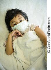 klinikum, maske, krank, kind