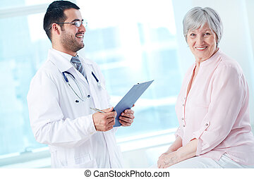 klinikum, patient, glücklich