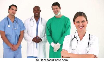 klinikum, zusammen, mannschaft, posierend