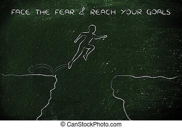 klip, &, op, bereiken, gezicht, doelen, vrees, jumpying, jouw, man