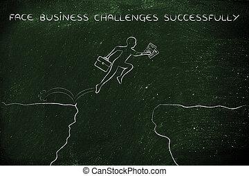klip, zakelijk, op, met goed gevolg, gezicht, uitdagingen, jumpying, man