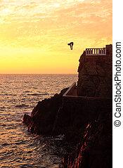 klippa dykare, av, den, kust, av, mazatlan, hos, solnedgång