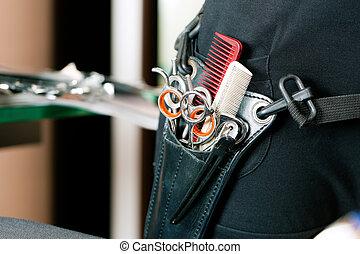 klippa, eller, väska, pistolhölster, frisör