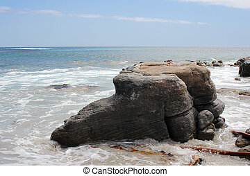 klippa, gå, in i, den, ocean