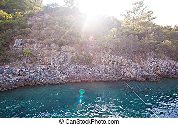 klipper, på, den, ø, hos, en, smukke, solnedgang