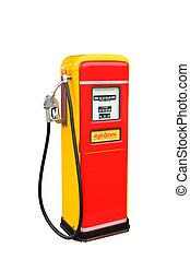 klippning, årgång, bensin, gul, pump, drivmedel, bana, röd
