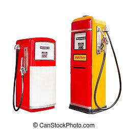 klippning, årgång, bensin, isolerat, drivmedel pumpa, utmatare, bana