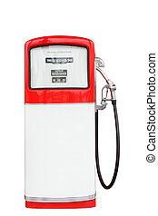 klippning, årgång, bensin pumpa, drivmedel, vit, path., röd