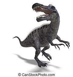 klippning, dinosaurie, över, framförande, suchominus., bana,...