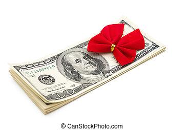 klippning, gåva, dollars, bog, bana, stack, röd