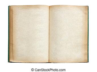 klippning, gammal, isolerat, bok, bakgrund, bana, vit, öppna