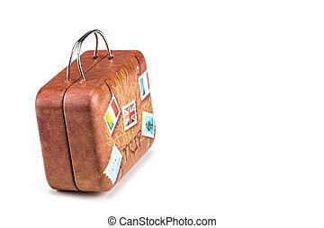 klippning, gammal, resa, isolerat, resväska, bana, klistermärken