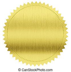 klippning, guld, etikett, försegla, included, bana