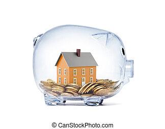 klippning, hus, insida, nasse, pengar, apelsin, bana, transparent, bank