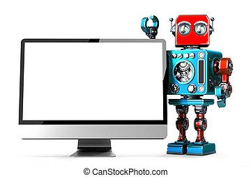 klippning, illustration., display., innehåll, robot, isolated., dator, retro, bana, 3