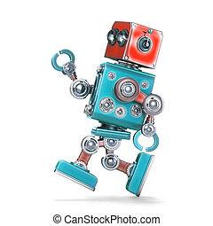 klippning, isolated., innehåll, robot., spring, bana