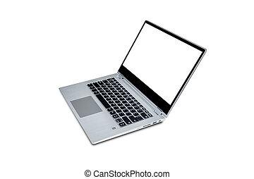 klippning, laptop, isolerat, bakgrund, tom, vit, path., avskärma