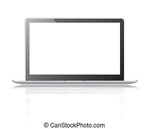 klippning, laptop, isolerat, svart, tunn, bakgrund, bana, vita skärma