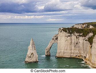 klippor, av, etretat, normandie