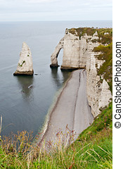 klippor, av, etretat, normandie, frankrike