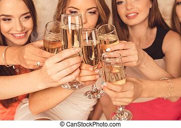 klirren, auf, foto, mädels, bachelorette, feiern, schließen, party