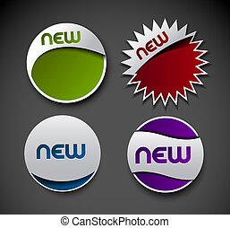 klistermärken, annons, etiketter, design