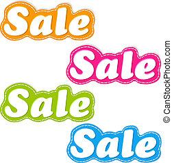klistermärken, färg, sätta, försäljning