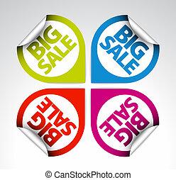 klistermärken, färgrik, /, etiketter, runda