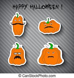 klistermärken, halloween, illustration, pumpor, -, grå, bakgrund.