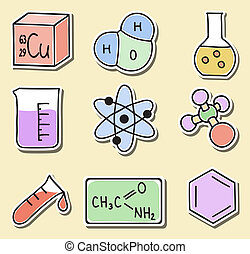 klistermärken, kemi, -, illustration, ikonen