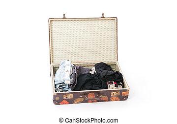 klistermärken, resa, gammal, resväska