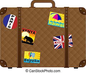 klistermärken, resväska