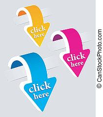 klistermärken, sätta, klick här