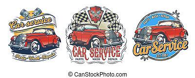 klistermärken, sätta, service, årgång, lager, särar, retro, tvätta, signage, märken, röd bil