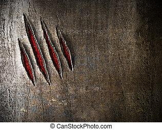 klo, skrapar, på, metall vägg