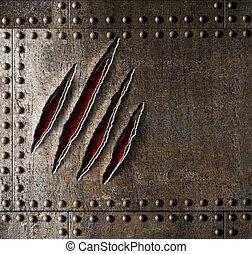klo, skrapar, på, rustning, metall vägg, bakgrund