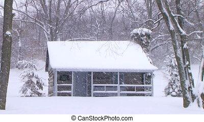 kloc kabina, w, śnieg