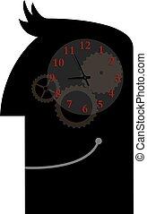 klocka, över, isolerat, bakgrund., brain., mänsklig, vit